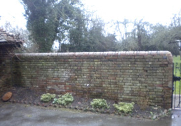 Brick wall before repointing